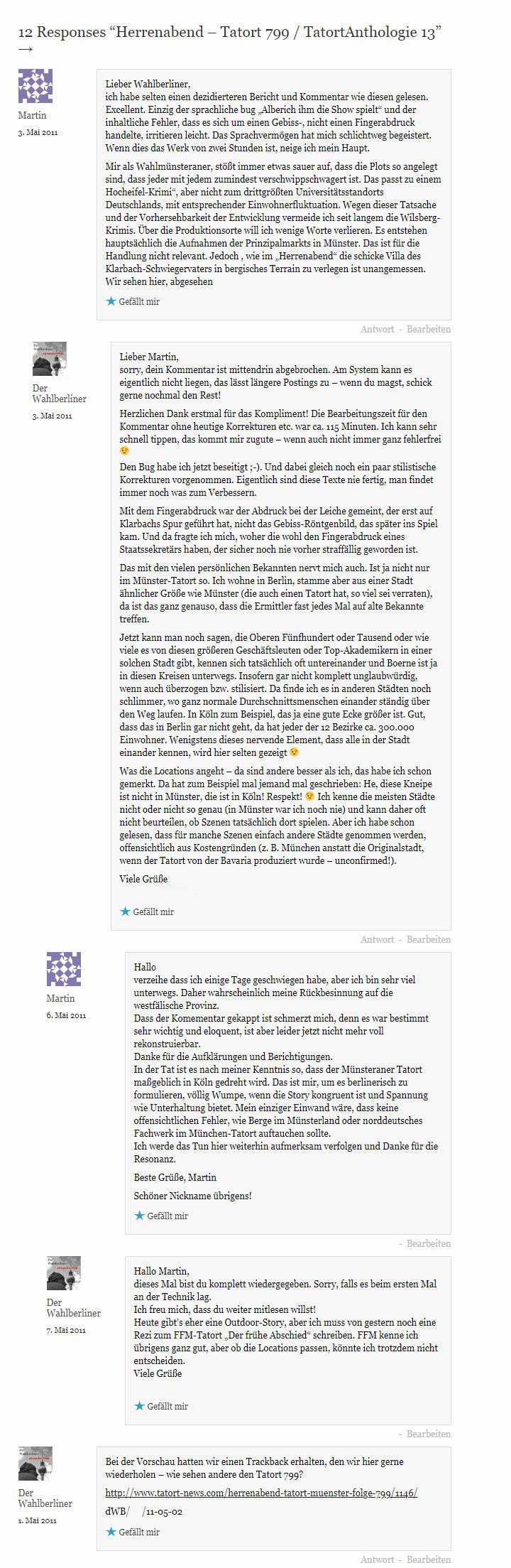 2019-01-30 Tatort 799 Herrenabend Kommentarspalte Ursprungsrezension