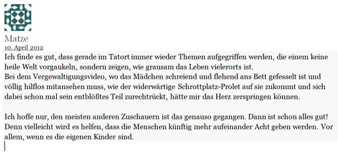 2019-05-22 Tatort 835 Ihr Kinderlein kommet - Kommentar