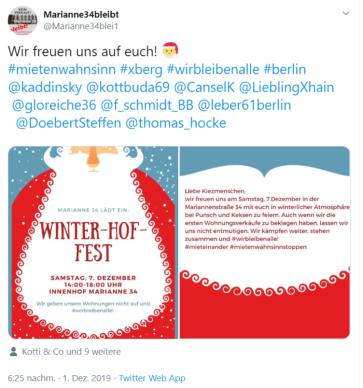 2019-12-07 Mariannenstraße 34 Tweet