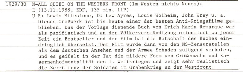 2020-10-09 FF 0103 Im Westen nichts Neues All Quiet on the Western Front USA 1929-30