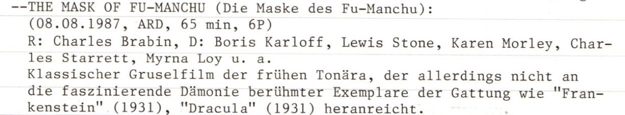 2020-10-13 FF 113 Die Maske des Dr. Fu Manchu The Mask of Fu Manchu USA 1932