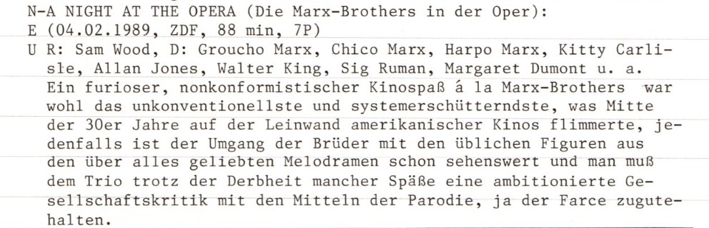 2020-10-15 FF 121 Die Marx-Brothers in der Oper A Night at the Opera USA 1935 Text