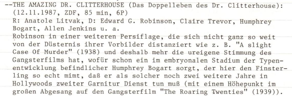 2020-10-27 FF 0154 Das Doppelleben des Dr. Clitterhouse The Amazing Dr. Clitterhouse USA 1938 Text