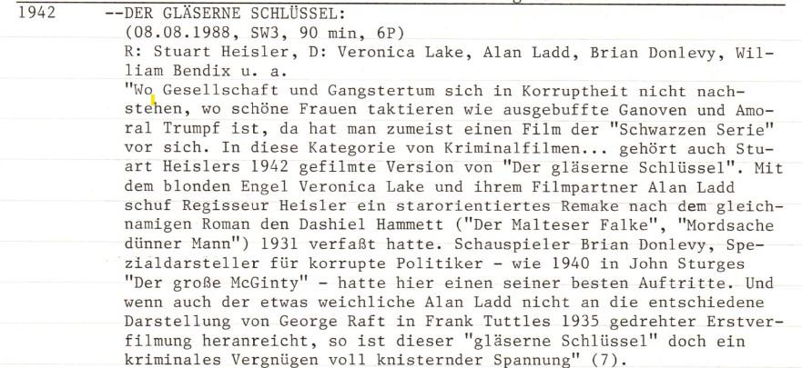 2020-11-16 FF 207 Der gläserne Schlüssel The Glass Key USA 1942 Text