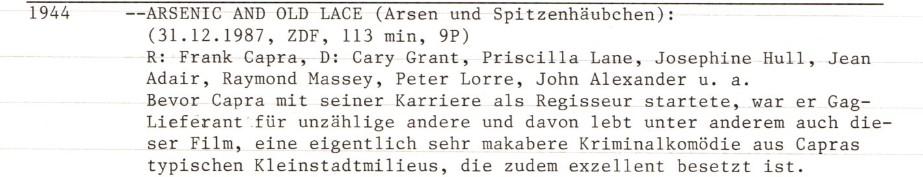 2020-11-24 FF 0236 Arsen und Spitzenhäubchen Arsenic and Old Lace USA 1944