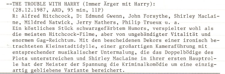 2021-03-14 FF 0400 Immer Ärger mit Harry The Trouble with Harry USA 1955