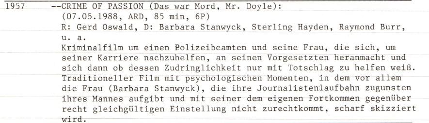2021-03-24 FF 415 Das war Mord, Mr. Doyle Crime of Passion USA 1957